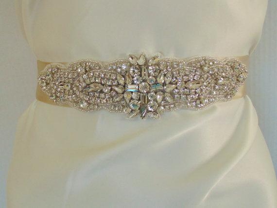 Свадьба - Rhinestone Bridal Belt, CROSS, Bridal Sash, Wedding Belt, Crystal Sash