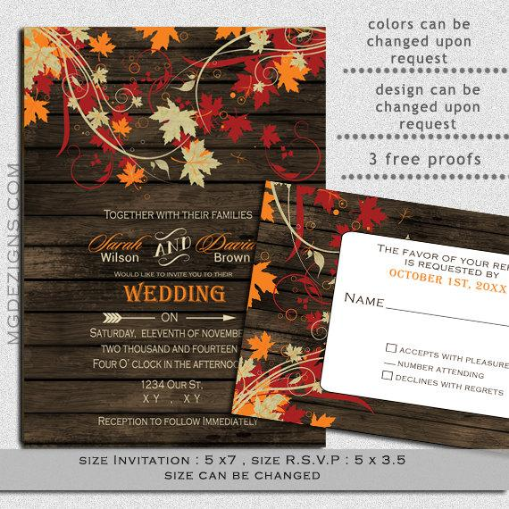 Printable Rustic Barnwood Fall Leaves Wedding