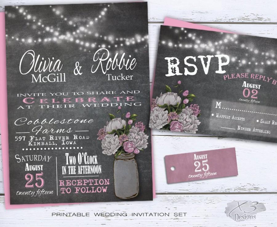 Hochzeit - Mason Jar Wedding Invitation