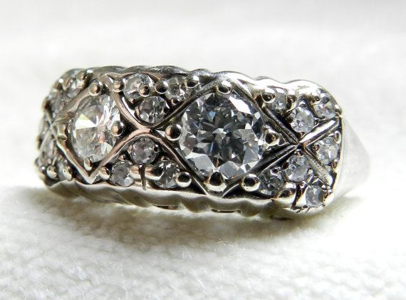 Mariage - Antique Old European Cut Diamond Engagement Ring 1.5 carats 14K White Gold Art Deco Diamond Ring Toi Et Moi Ring