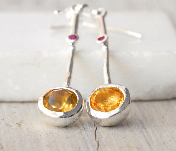 Mariage - Yellow Citrine Earrings, Sterling Silver Long Drop Earrings, November Birthstone Gift, Bridal Earring, Minimalist, Golden Sparkles & Rubies