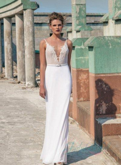JW16057 Sexy Simple Backless Sheath Wedding Dress 2016