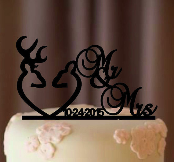 Hochzeit - Deer Wedding Cake Topper - Country Wedding Cake Topper - rustic cake topper - shabby chic- redneck - cowboy - outdoor - western - acrylic