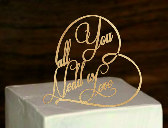 Rustic Wedding Cake Topper All You Need Is Love Cake Topper   Monogram  Wedding Cake Topper   Cake Decor   Natural Wood Cake Topper
