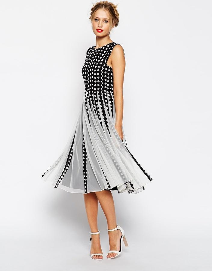 Hochzeit - ASOS COLLECTION ASOS Spot Mesh Insert Fit And Flare Midi Dress