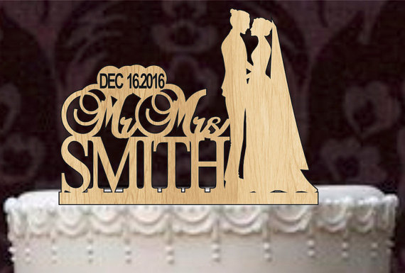 Custom Wedding Cake Topper Monogram Personsalized Silhouette With Your Last Name Date Rustic