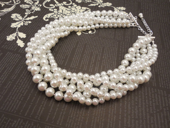 Mariage - Very Elegant Wedding Bridal Multi Strand Choker Style Necklace with White Glass Pearls