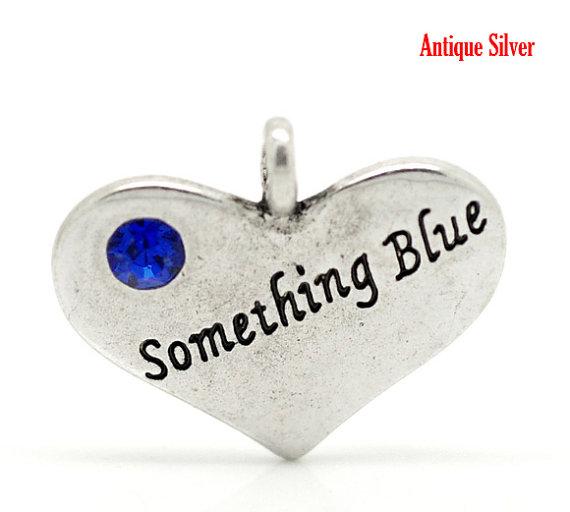 Свадьба - Something blue Bride Charms Antique Silver w/Blue Rhinestone 1 pc Drop Pendant 22x18mm, DIY Bridal Wedding Gift necklace, bracelet, bouquet