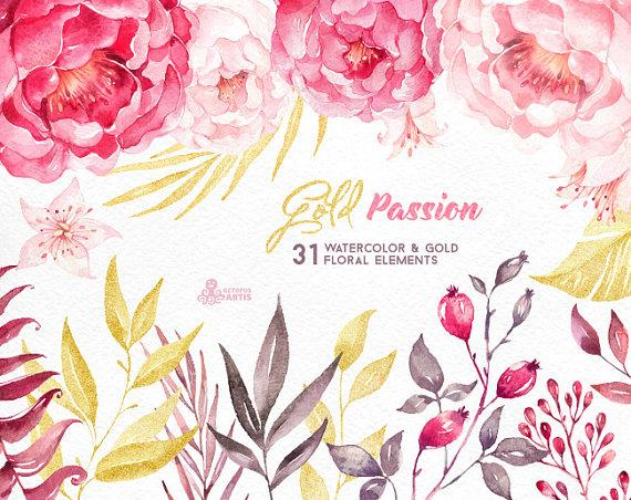 gold passion 31 floral elements watercolor hand painted clipart