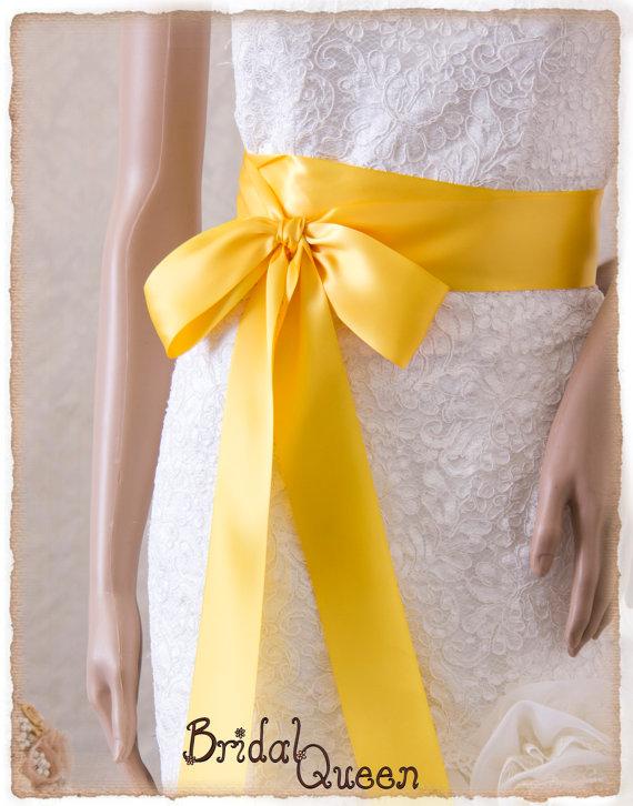 Wedding - Bridal Sash, YELLOW Satin Ribbon Sash, Wedding Sash, Satin Ribbon Sash, Bridal belt, Yellow Sash