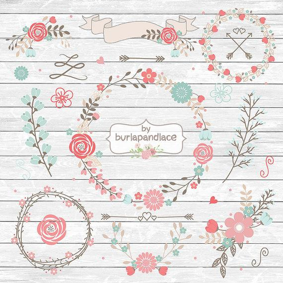 Wedding - VECTOR file, Wedding Floral Wreath Clip Art, Hand Illustrated Digital Flowers, Flower and Laurel Clip Art,  Wreath flower