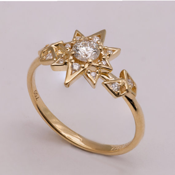 Diamond Art Deco Star Engagement Ring Unique Engagement Ring Star
