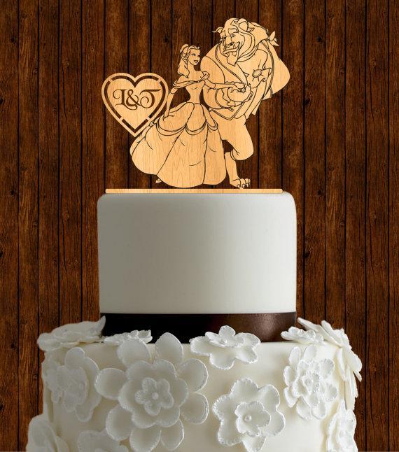 زفاف - Beauty and the beast wedding cake topper / wood wedding cake topper / initial cake topper / monogram cake topper / custom cake topper