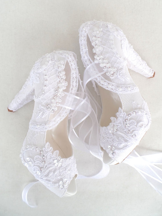 White Embroidered Lace Bridal Shoes With Pearls 4 Heels Elegant Wedding