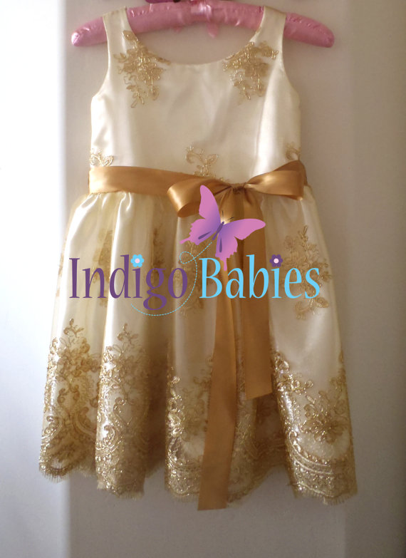 Dress flower girl dress gold lace off white satin ivory knee dress flower girl dress gold lace off white satin ivory knee long antique gold sash portrait dress wedding flower girl dress mightylinksfo