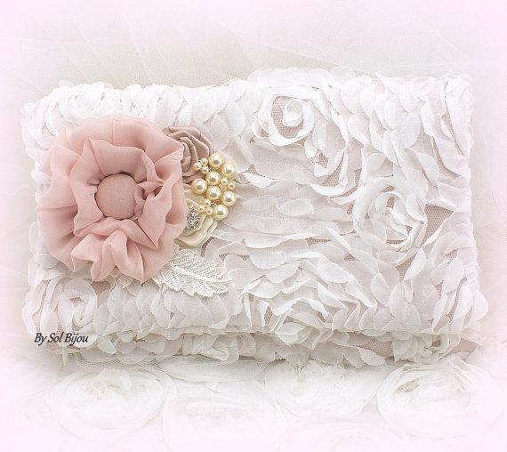 Wedding - Clutch, Bridal, Wedding, Handbag, Maid of Honor, Ivory, Off White, Blush, Rose, Chiffon, Pearls, Crystals, Vintage Wedding, Elegant