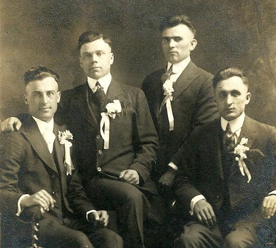 Свадьба - Antique Wedding RPPC Real Photo Postcard Handsome Groomsmen Vintage Photograph Post Card