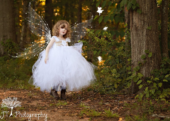 Mariage - White Burlap Lace Vintage Country Inspired Tulle Tutu Flower Girl Dress Full Length