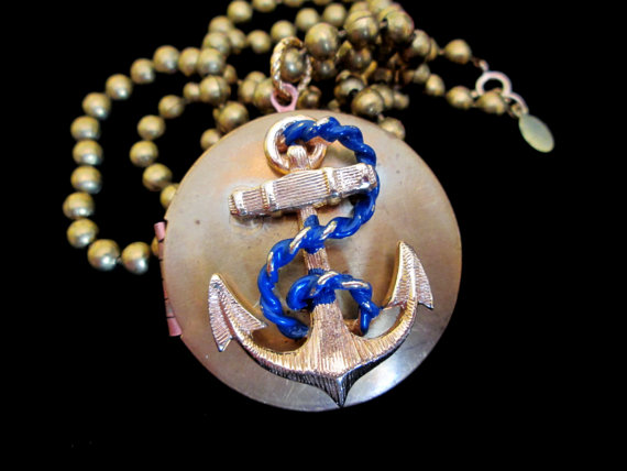 Mariage - Anchors Away - Vintage Locket Necklace