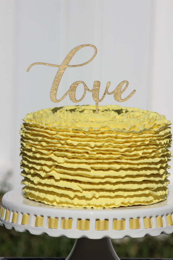 Gold LOVE Wedding Cake Topper - Wooden Cake Topper - Engagement Cake ...