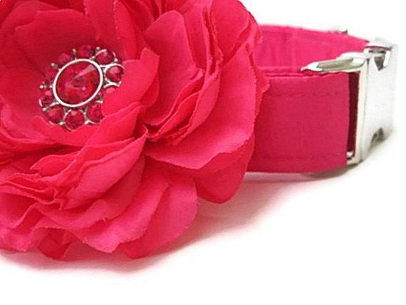Свадьба - Satin Wedding Dog Collar with Flower Accessory - Fuchsia