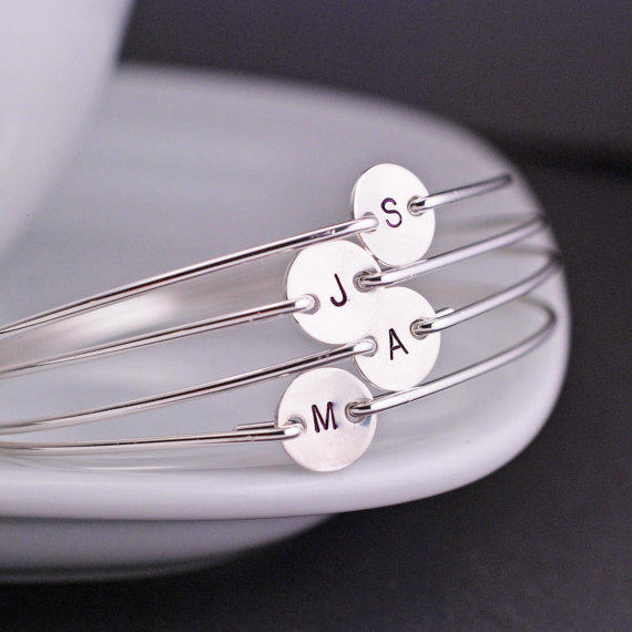 Свадьба - Hand Stamped Bridesmaid Jewelry, FIVE Personalized Custom Sterling Silver Initial Bangle Bracelets