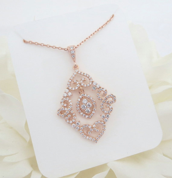 Rose Gold Bridal Necklace Crystal Wedding Necklace Rose Gold