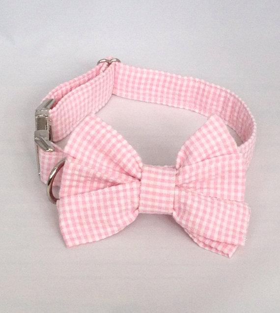 Свадьба - Preppy Pink Gingham Girl Bow Tie Dog Collar, Check Girl Bowtie Dog Collar, Custom Dog Collar, Preppy Dog Collar, Pink Dog Collar,