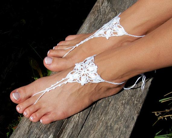 Свадьба - Barefoot Sandals, Beach Wedding Shoes, Wedding Accessories, Nude Shoes, Yoga socks, Foot Jewelry