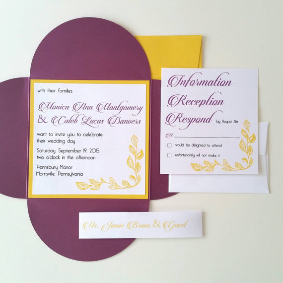 6 25 x 6 25 petal fold wedding invitations fall leaf design