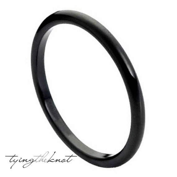 Tungsten Carbide Rings 2mm Polished Black Women Wedding Bands