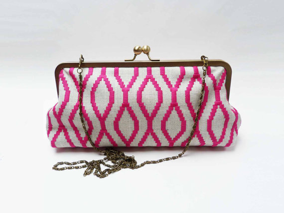 Свадьба - Clutch bag, pink and cream geometric design, embroidered clutch, wedding clutch