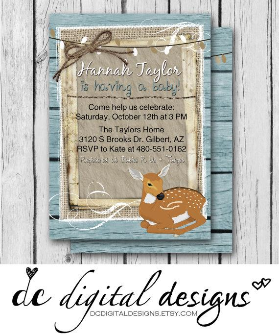 deer boy rustic baby shower wood lights wedding invitation bridal shower baby shower birthday digital and printable invitation