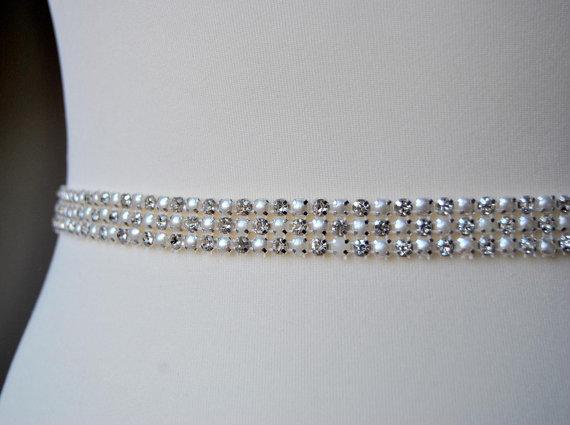 Свадьба - Stunning Pearls Crystal Bridal Sash -3 rows,Wedding Dress Sash Belt,Rhinestone Sash, Wedding Rhinestone Bridal Bridesmaid Dress Sash Belt