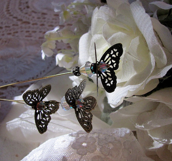 Свадьба - Wonderland Flutterby Butterfly Victorian Hat Pin With Bling, Bridal Bouquet Accessory, Floral Arrangement Accessory, Wedding Day Memento