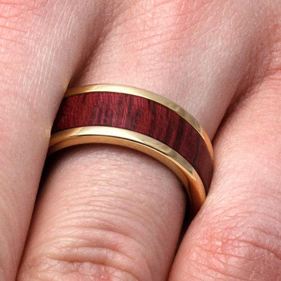 Свадьба - Purple Heart Wood Ring, 10k Yellow Gold Wedding Band With Titanium, Customized Jewelry