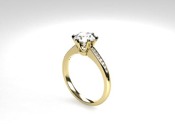 زفاف - White Topaz ring, engagement ring, yellow gold, Diamond, solitaire, gold engagement, topaz engagement, unique