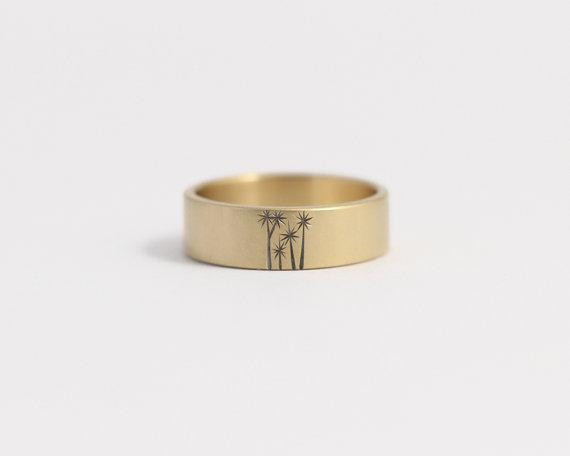 زفاف - Wedding Band or Engagement Ring in 14k yellow gold with cabbage trees