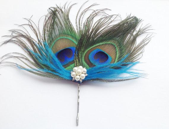 Свадьба - Rock Rockabilly Peacock fascinator with pearls & crystals