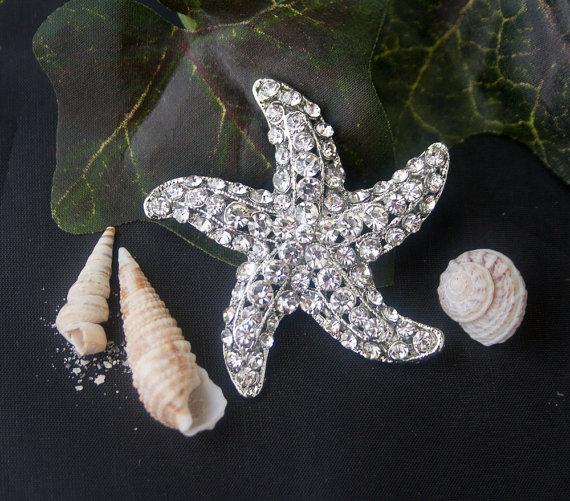 Свадьба - 1 Rhinestone Starfish Wedding Bouquet pin K - for wedding bouquet, dress, or decoration - Rhinestone Old World Brooch