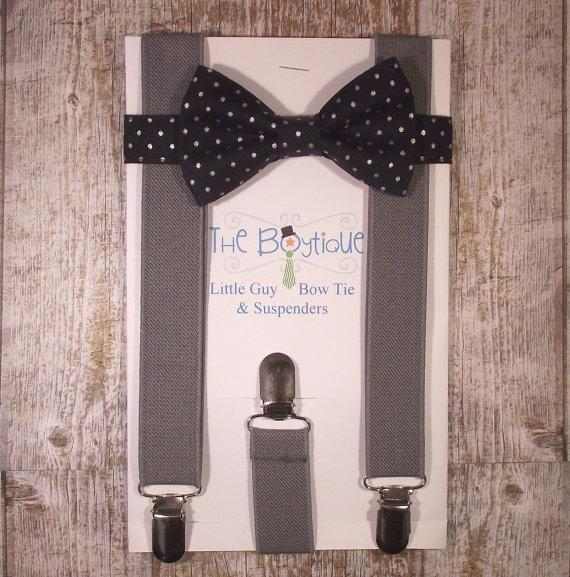 Свадьба - Navy Bow Tie and Suspenders: Navy Polka Dot Bow Tie and Grey Suspenders, Toddler Suspenders, Baby, Kids, Wedding, Ring Bearer, Favor, Gift