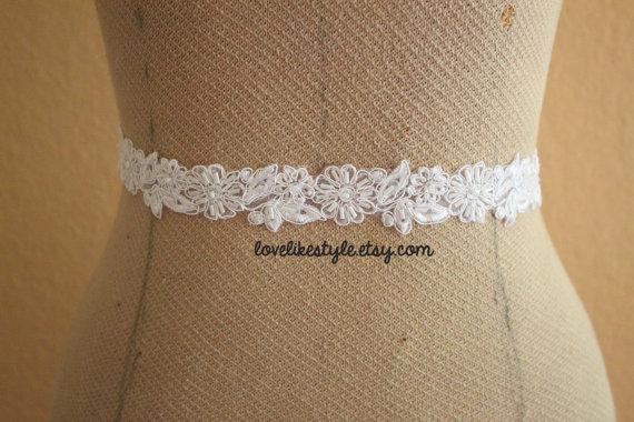 Mariage - White  Flower Beaded  Lace Sash, Bridal Sash, Bridesmaid Sash, Flower Girl Sash