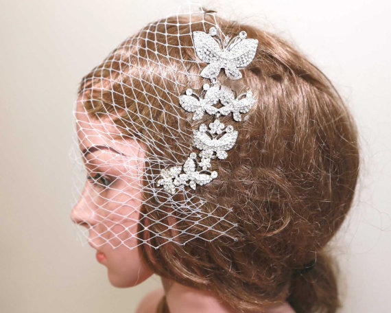 Wedding - Wedding Hair Comb, Pearl Hair Comb, Butterfly Comb, Bow Headpiece, Bridal Headpiece, Rhinestone Hair Comb,Crystal Butterfly, Birdcage Veil