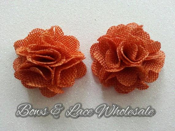 """زفاف - 2"""" Burnt Orange Burlap Flowers, Set of 2, Rustic, Textured DIY Flower"""