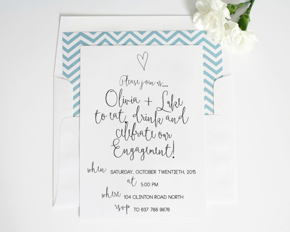 Printable Engagement Party Invitation Classic Engagement Invitation