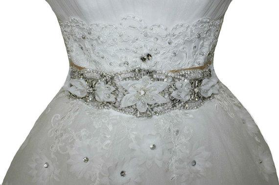 Hochzeit - Flower Crystal On Black Ribbon Wedding Sash