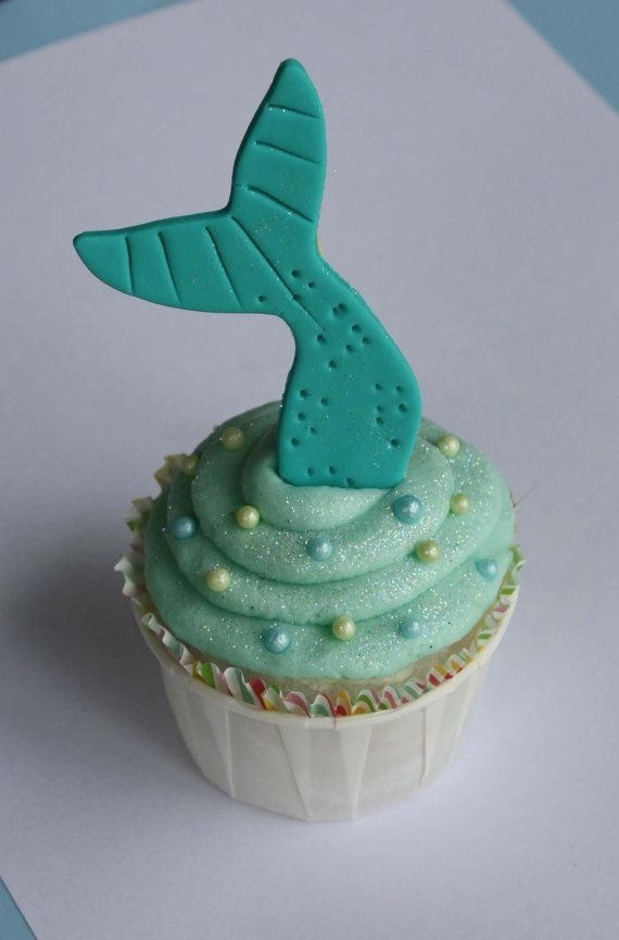 Wedding - Mermaid Tail Fondant Cupcake Toppers