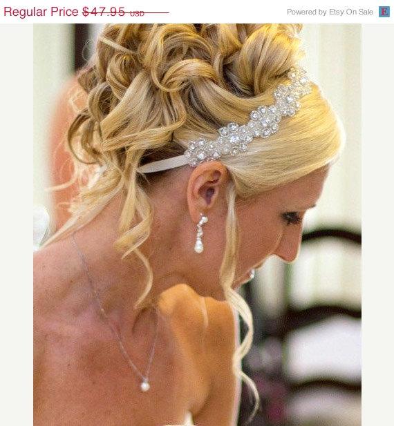Mariage - ON SALE Lilly- Floral Rhinestone Headband,  Wedding Headpiece, Ribbon, Crystal, Accessories, Bridal, Wedding, Hair Accessory