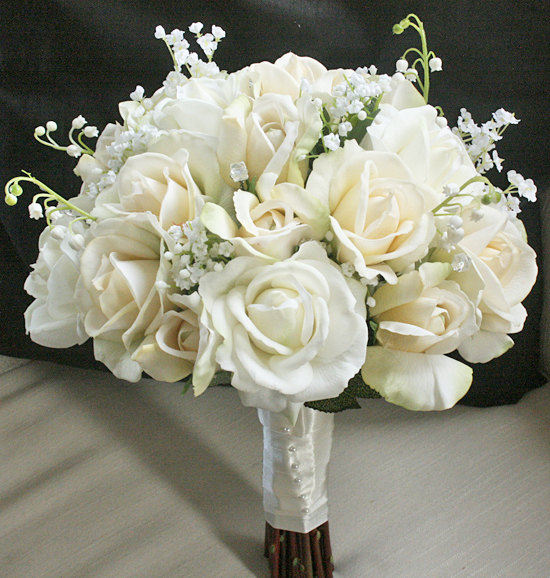Silk Wedding Bouquet With Champagne And Ivory Roses - Natural Touch ...