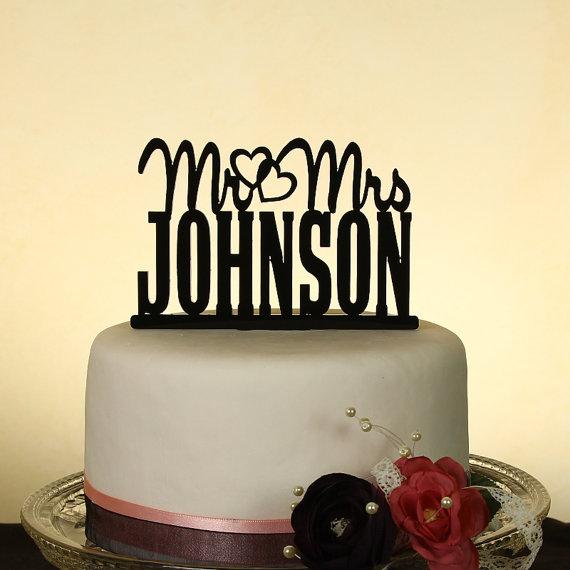 """زفاف - Mr. and Mrs. personalized """"in your name"""" wedding cake topper by Distinctly Inspired (style J-2)"""